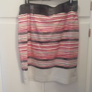 Pink and black striped pencil skirt